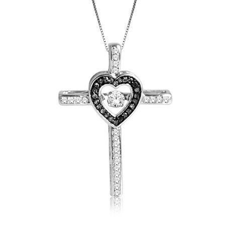 Beats of Love: ¼ct. Black & White Diamond Heart Cross Pendant