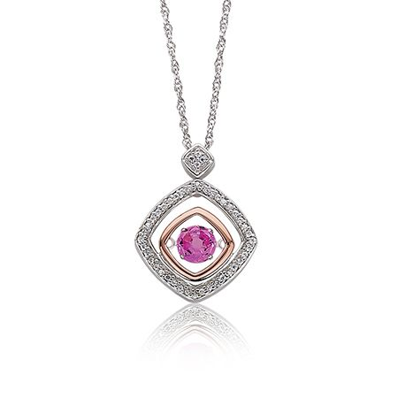 Beats of Love Pink Geometric Diamond Pendant in Rose Gold & Sterling Silver