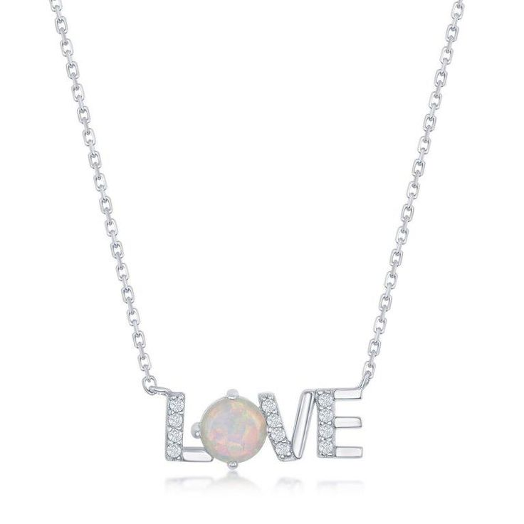 Created Opal & CZ Love Pendant in Sterling Silver