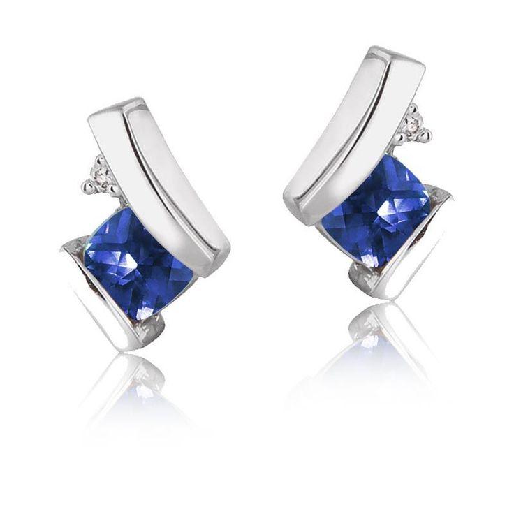 Created Sapphire & Diamond Drop Earrings in 10k White Gold