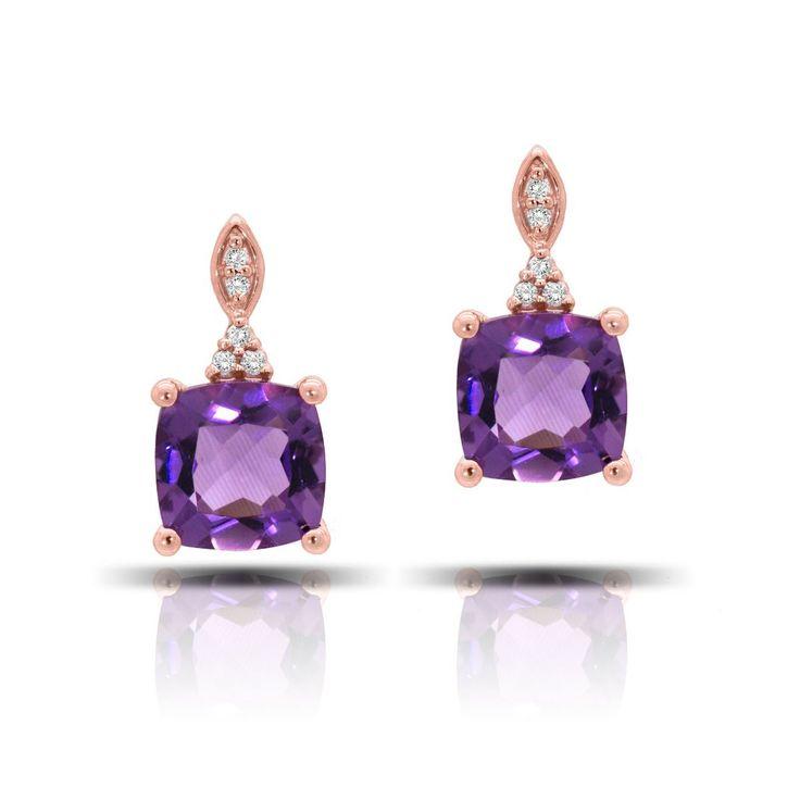 Cushion-Cut Amethyst & Diamond Earrings in 10k Rose Gold