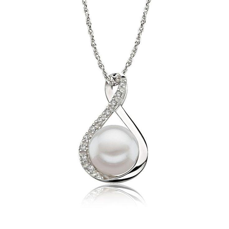 Freshwater Pearl & Diamond Pendant in 14k White Gold