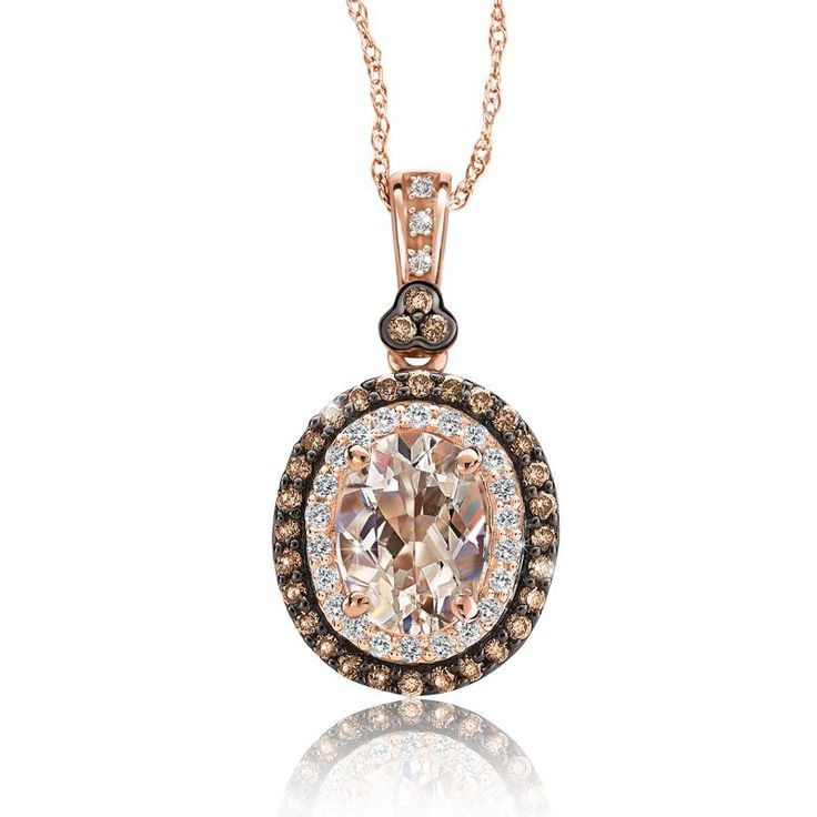 JK Crown: Morganite & Champagne Diamond Halo Pendant in 10k Rose Gold