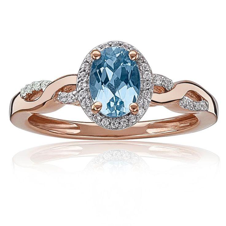 JK Crown Oval Aquamarine & Diamond Halo Twist Ring