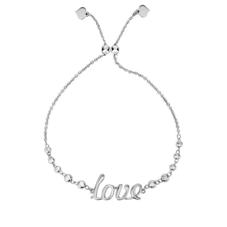 Love Script Beaded Bolo Bracelet in Sterling Silver