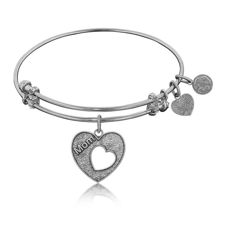 Mom Open Heart Charm Bangle Bracelet in White Brass