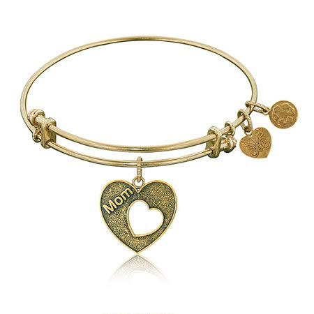 Mom & Open Heart Yellow Brass Stackable Bangle Bracelet
