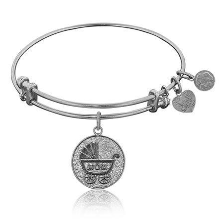 New Mom White Brass Stackable Bangle Bracelet