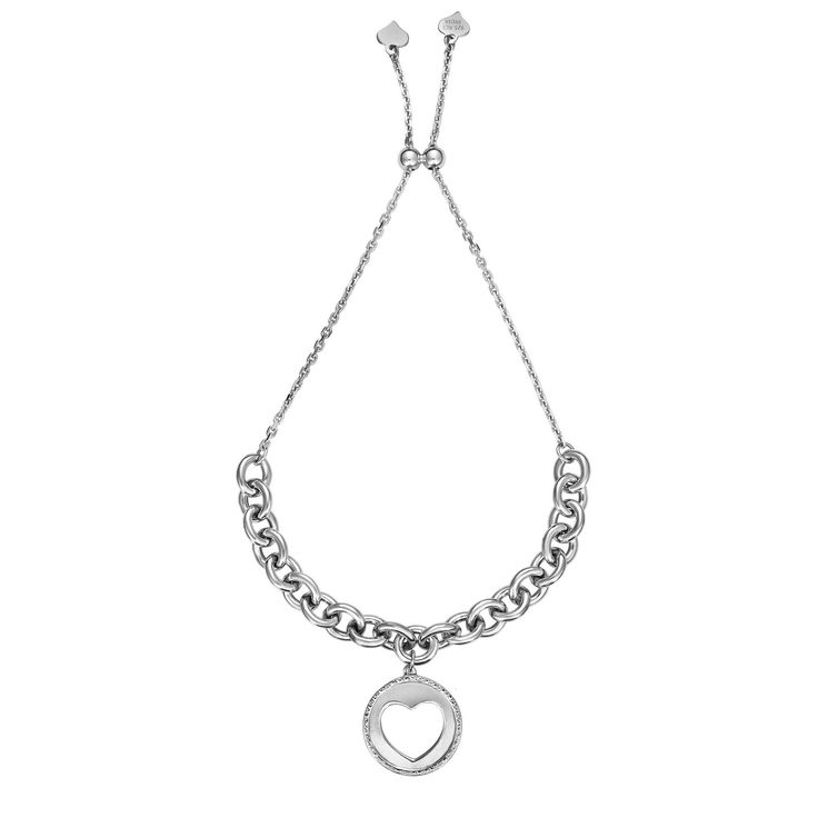 Open Heart Round Link Bolo Fashion Bracelet in Sterling Silver