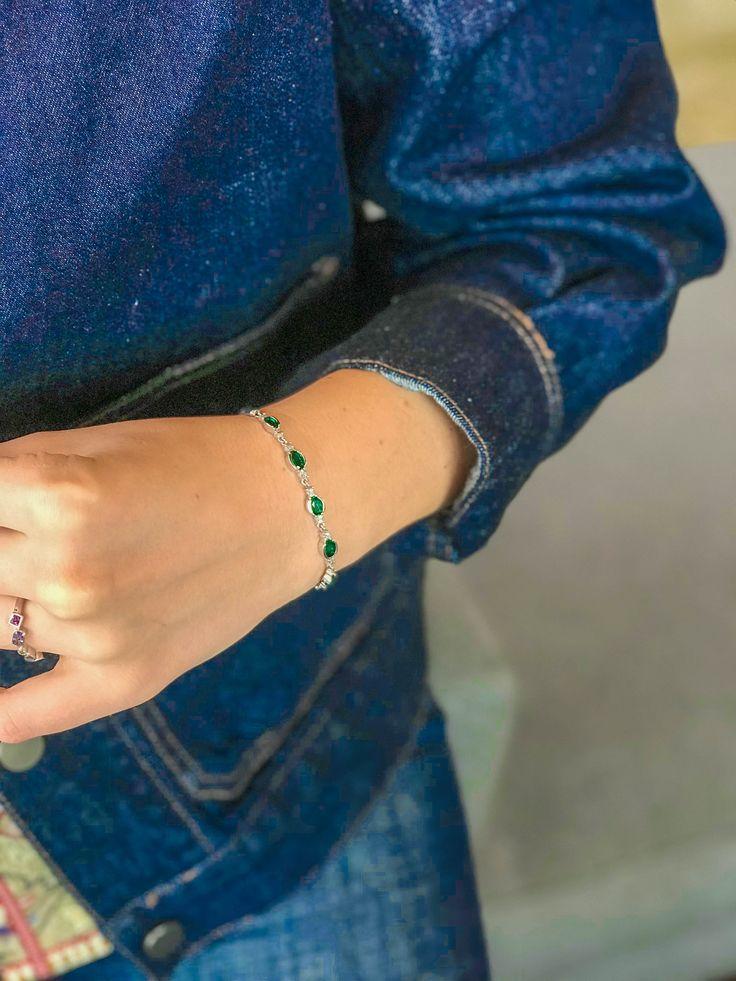 Oval Emerald & Diamond Bolo Bracelet in Sterling Silver
