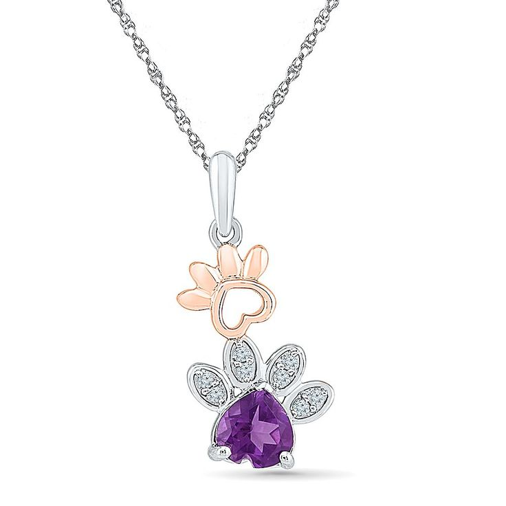 Paw Print Double Diamond & Gemstone Pendant in Sterling Silver