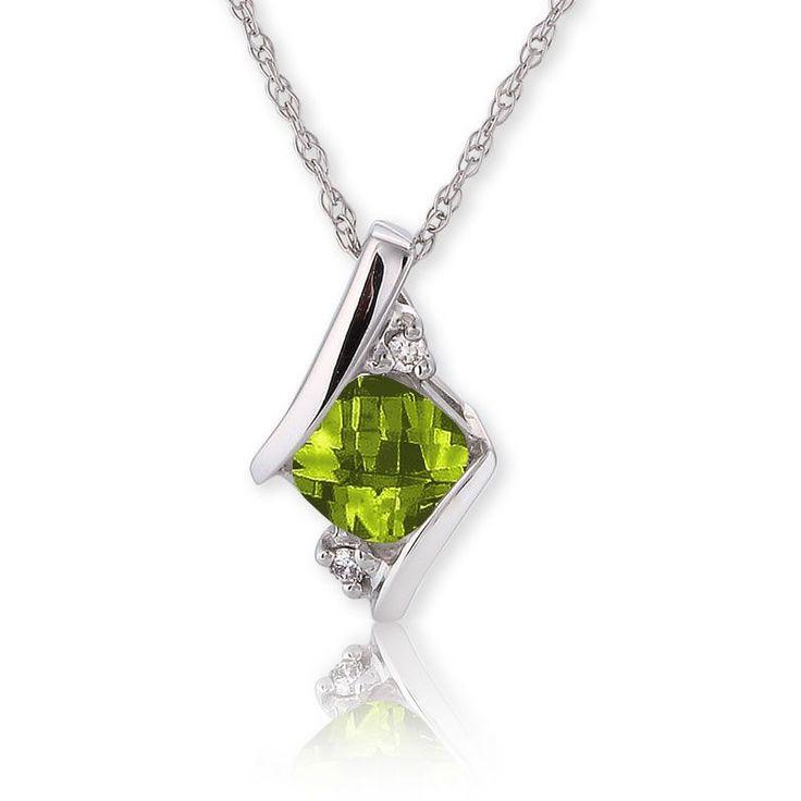 Peridot & Diamond Pendant 10k White Gold