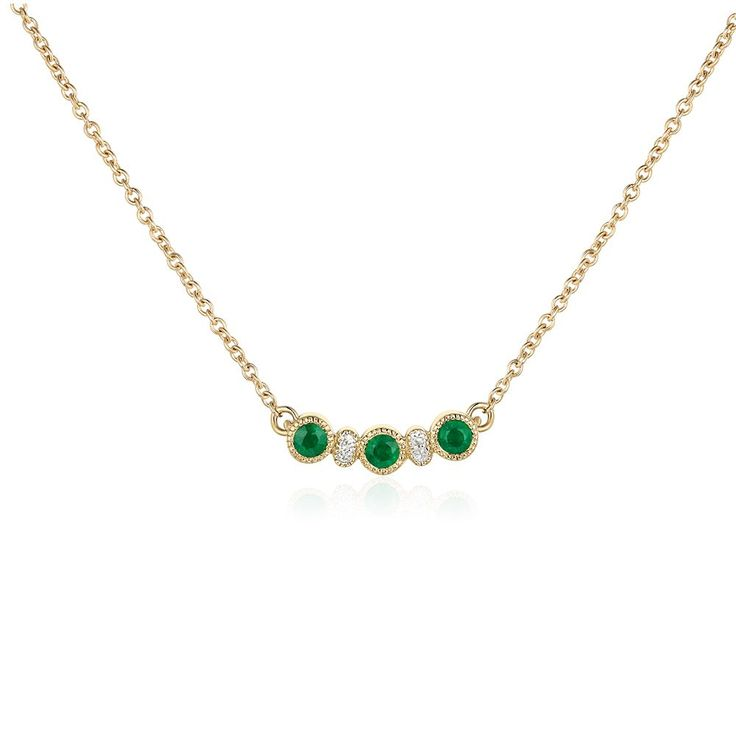 Round-Cut Emerald & Diamond Pendant in 10k Yellow Gold