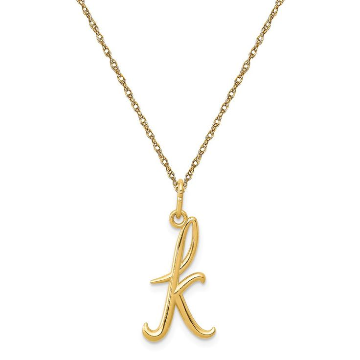 Script K Initial Necklace in 14k Yellow Gold
