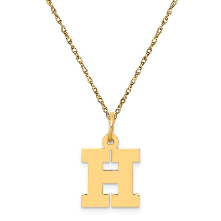 Small Block H Initial Necklace in 14k Yellow Gold
