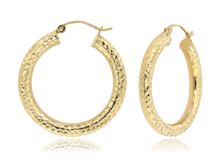 Thick Fashion Hoop Earrings in 14k Yellow Gold