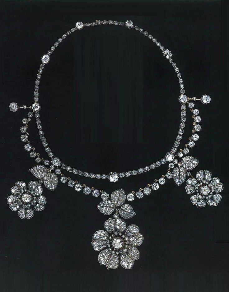 An antique diamond garland necklace, 19th century. #diamondnecklace
