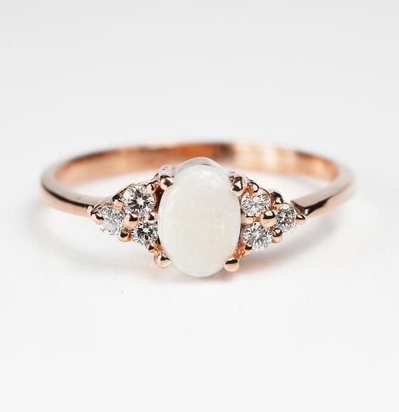 Opal and Diamond handmade engagement ring in 9ct, 14ct, 18ct, opal and diamond c...