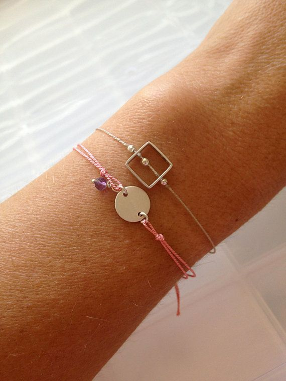 Initial Stamp Wish Bracelet with Tiny Stone by WaterHorseStudios, $23.00