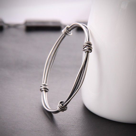 Modern silver bangle with a sleek and edgy by bluehourdesigns, $65.00