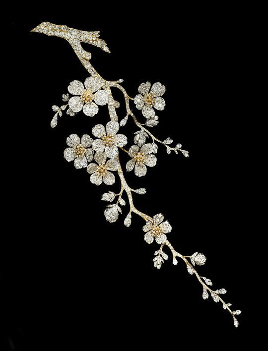 Diamond-set corsage, influenced by traditional Japanese cherry blossom motifs an...