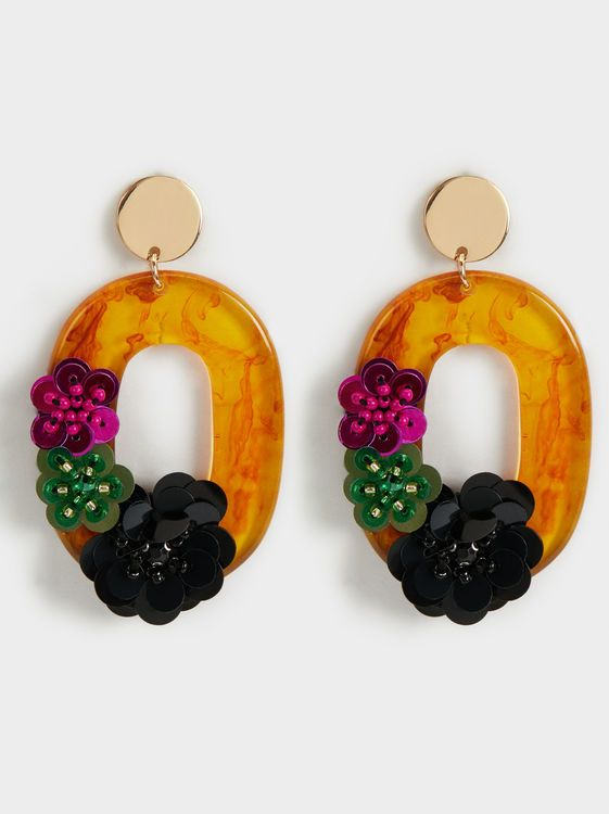 Hindi Floral Dangle Earrings, Multicolor | ♦F&I♦
