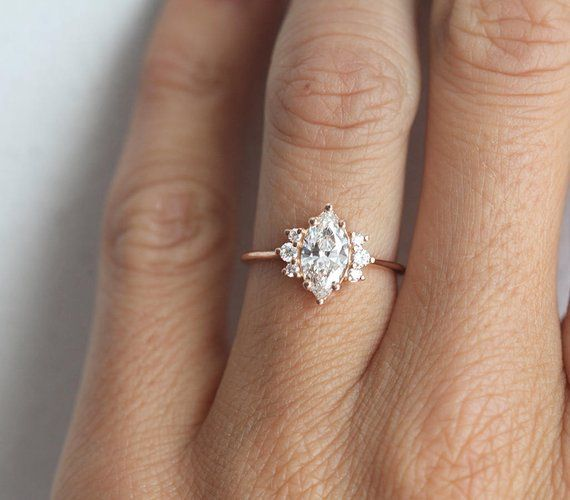One Carat Rose Gold Diamond Ring with Marquise cut diamond in | Etsy