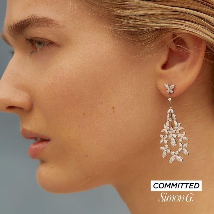18K White Gold Floral Chandelier Earrings