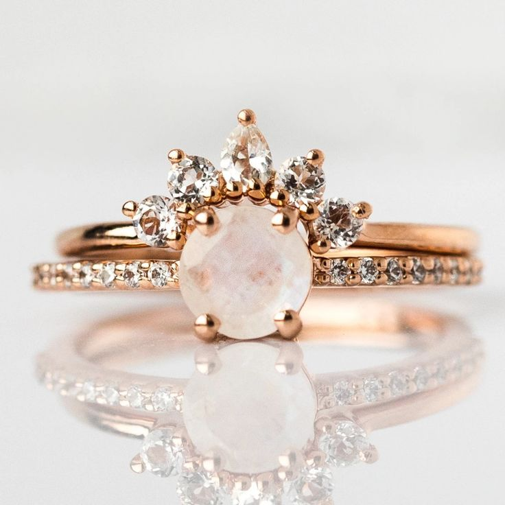 local eclectic | Rose Gold Rainbow Moonstone & Topaz Dancing Fairy Ring Stack