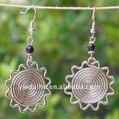 Gold Plated Copper Wire Wrap Sun Shape Dangle Earrings 131689 (Inspiration)