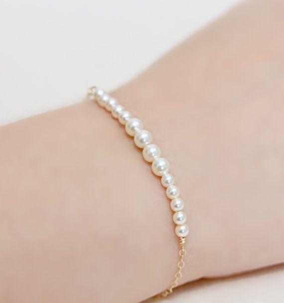 Delicate Pearl Bar Bracelet