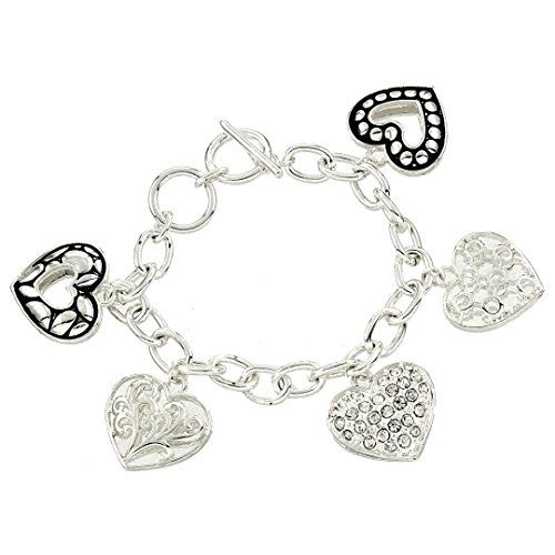 Gorgeous Heart Charm Bracelet BS Clear Crystal Assorted F... www.amazon.com/...