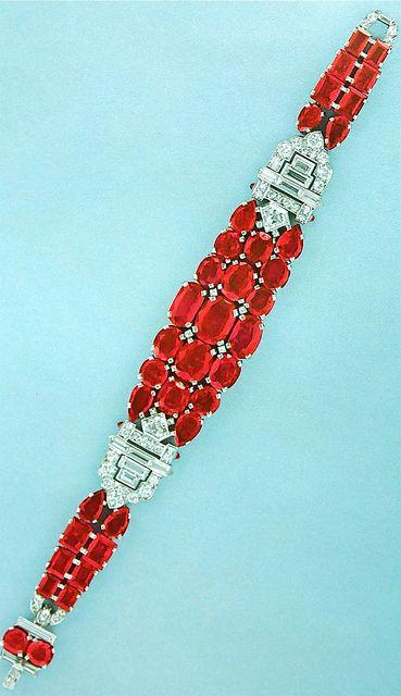 Cartier New York Art Deco Diamond Ruby Bracelet by Clive Kandel, via Flickr