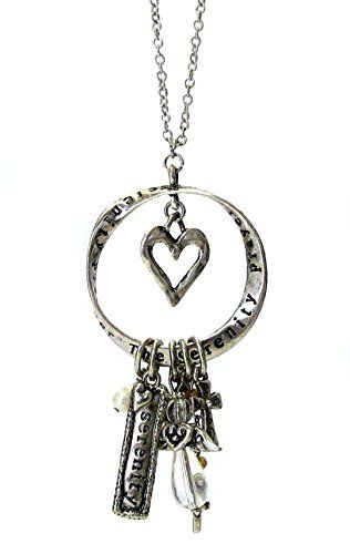 Serenity Prayer Long Necklace D3 Multi Charm Faux Pearl A... www.amazon.com/...