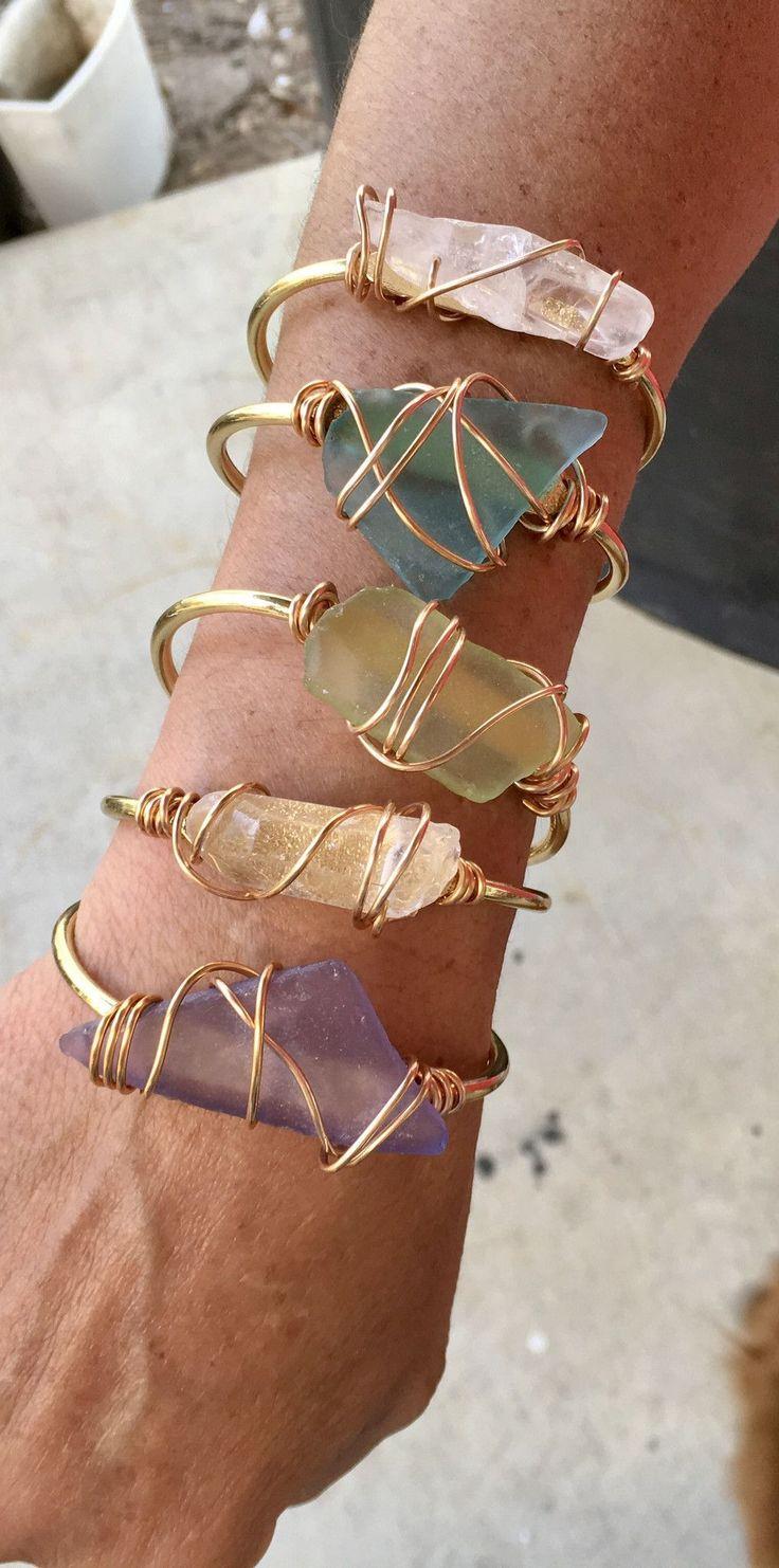 Sea glass And clear quartz Gold cuffs #seaglassbracelet