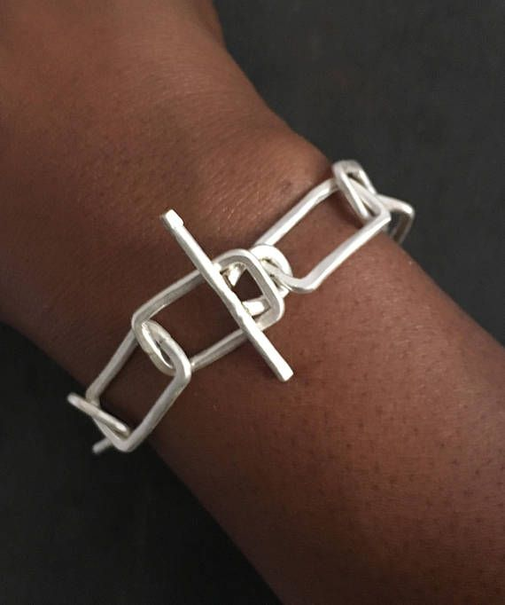 Statement Bracelet Sterling Silver Geometric Chain Bracelet