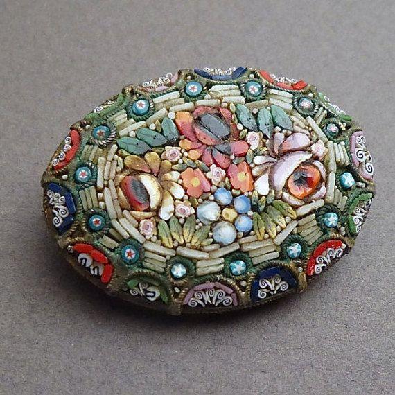 Antique oval micro Mosaic pendant