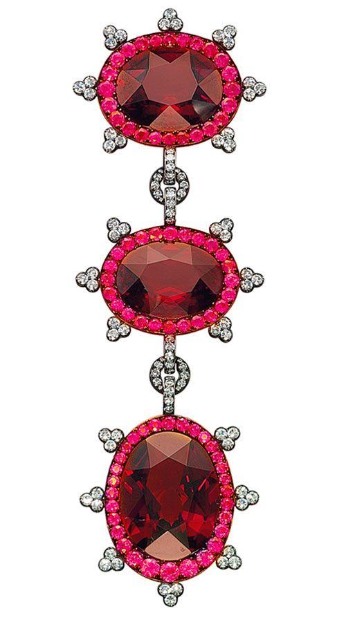 Garnet, Ruby and Diamond Brooch, by JAR designed as three clusters, each centeri...