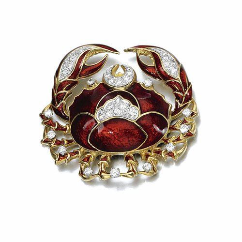 Red enamel and diamond brooch, David Webb   lot   Sotheby's