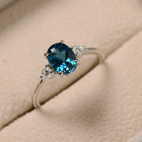Blue topaz ring, oval gemstone ring, sterling silver, promise ring