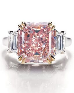 Extremely rare fancy-intense pink-diamond ring in platinum setting from Harry Wi...