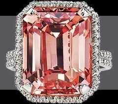 Largest Fancy Deep Orangy Pink, Internally Flawless, Emerald Cut diamond. 18.33 ...