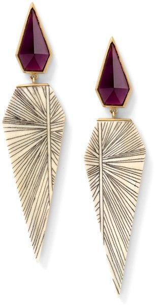 Fossilized woolly mammoth and hand carved scrimshaw earrings with rhodolite, 18 ...