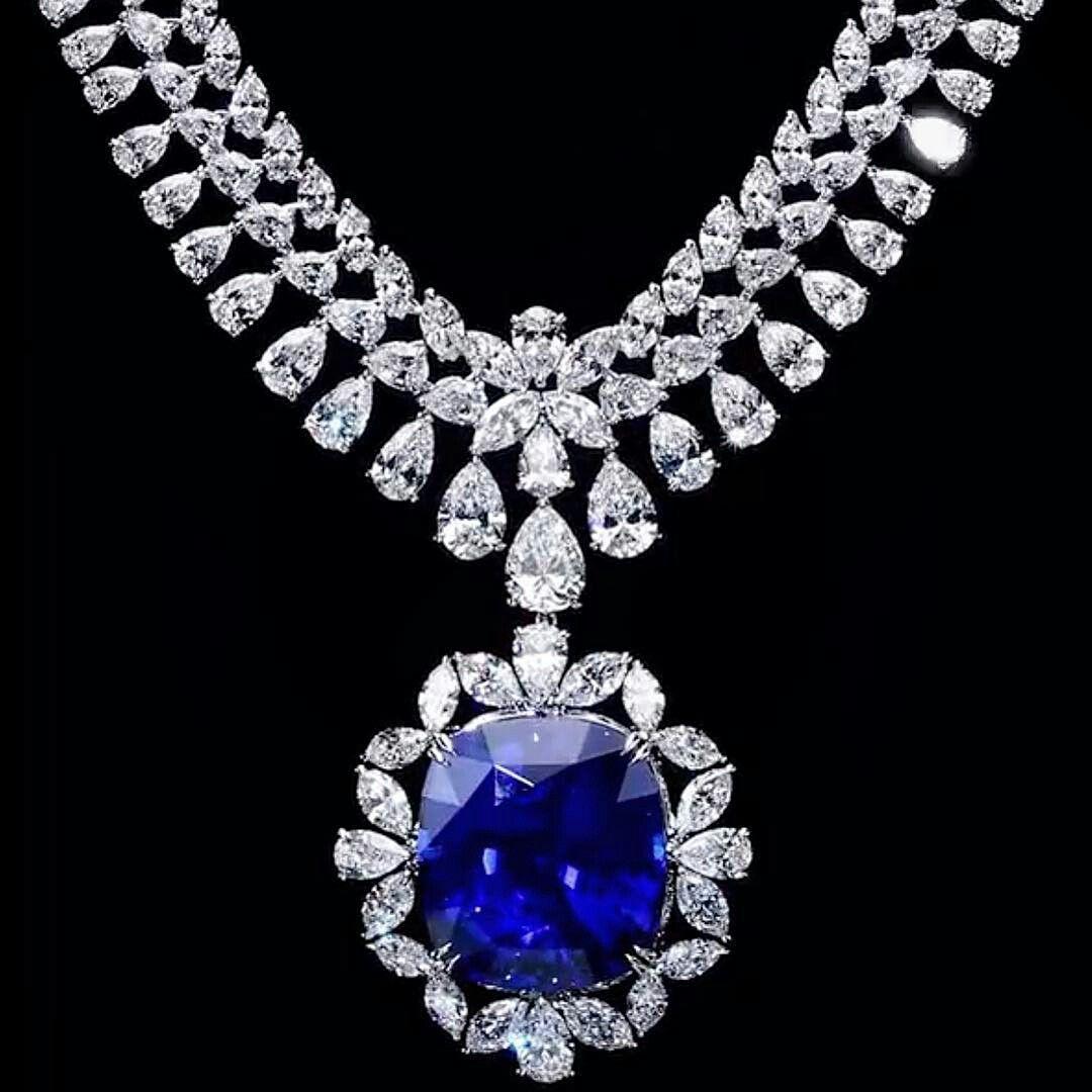 By Dehres Ltd 120+carat #sapphire #diamonds #necklace #mm_mucevhermagazin