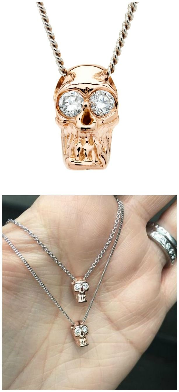 I love these Alexis Kletjian skulls! This one is a pendant in yellow gold with d...