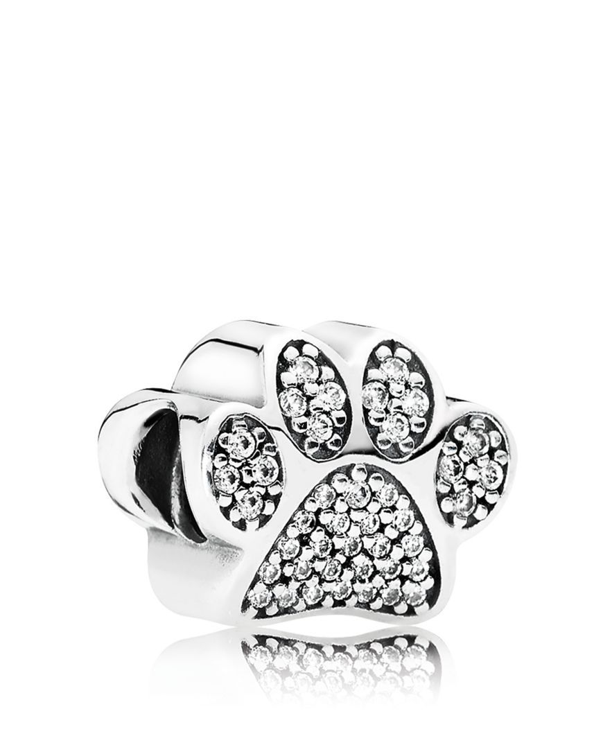 Pandora Moments Collection Sterling Silver & Cubic Zirconia Paw Prints Charm Jewelry & Accessories - Bloomingdale's