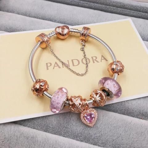 pandora charm bracelet with 7 pcs pink gold charms gold clasp head - Xingjewelry