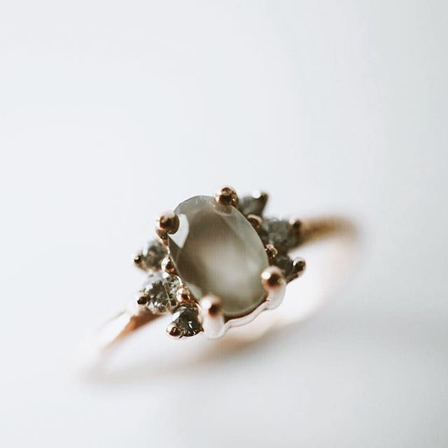 Another look. For M from D. — 14k Rose Gold Grey Moonstone and Diamond Engagem...