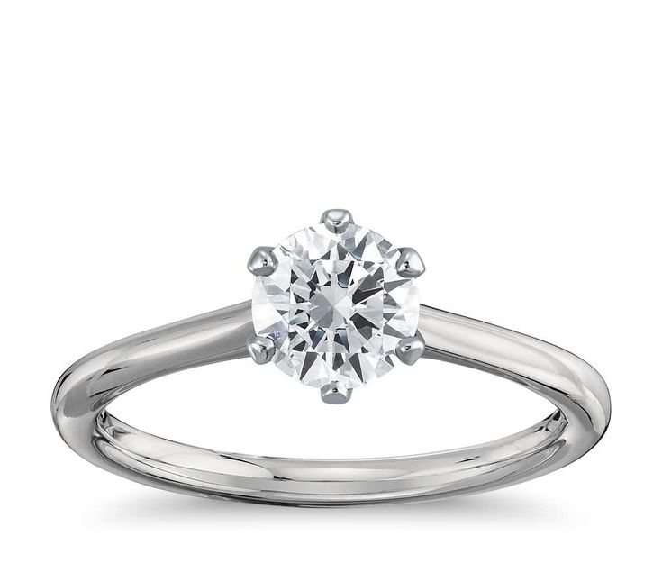 Petite Nouveau Six-Prong Solitaire Engagement Ring in Platinum   Blue Nile #ad