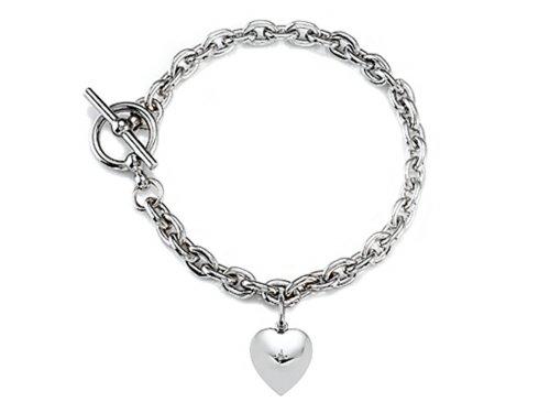 Finejewelers Sterling Silver Heart Charm Toggle Bracelet - Shopinzar.com